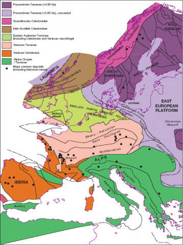 The &ldquo;terrane collage&rdquo; of Precambrian and Phanerozoic Europe.