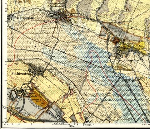 Ausschnitt aus der GK25, Blatt 4134 Kochstedt, bearbeitet 1912–1922