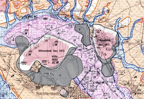 Ausschnitt aus der Lithofazieskarte Quartär 1:50000, Blatt 2363 Quedlinburg.