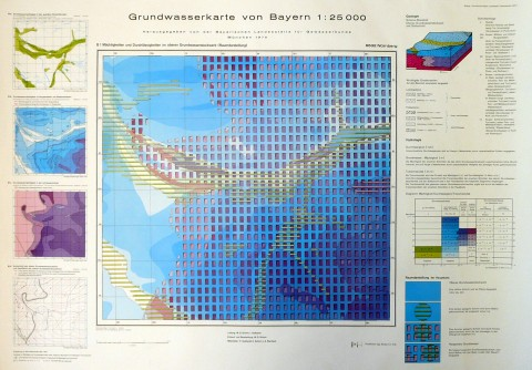 Groundwater Map of Bavaria 1:25000, Section 6532 Nürnberg (1970).