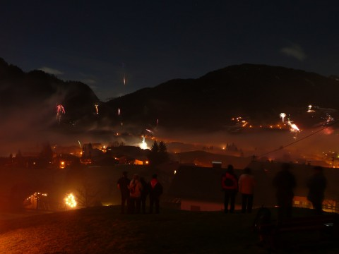 Fireworks in Obermaiselstein, view from Oberdorf chapel