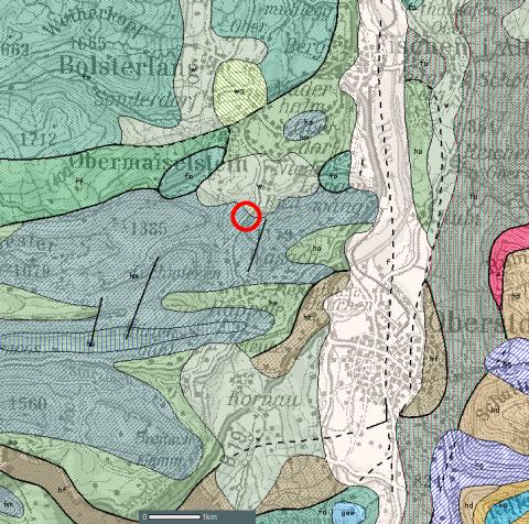 Ausschnitt aus der Geologischen Karte von Bayern 1:500000.