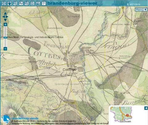 Schmettausche Karte mit heutiger Topographie ©LGB