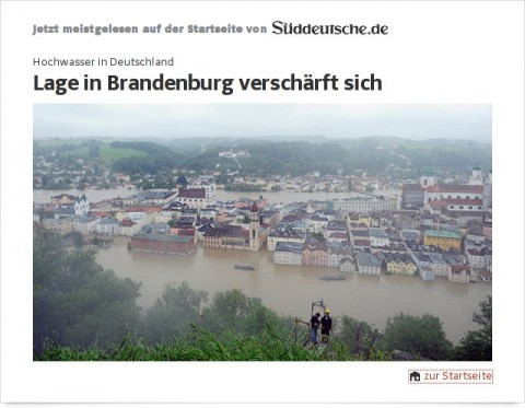 Süddeutsche: Hochwasser – Lage in Brandenburg verschärft sich