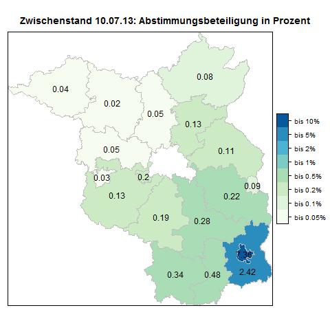 Zwischenstand Volksbegehren: prozentuale Stimmbeteiligung